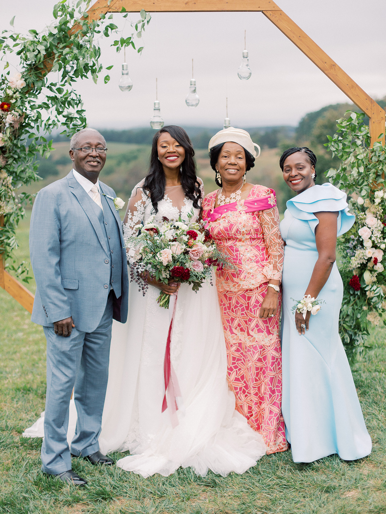 rebecca isaac wedding bride with family
