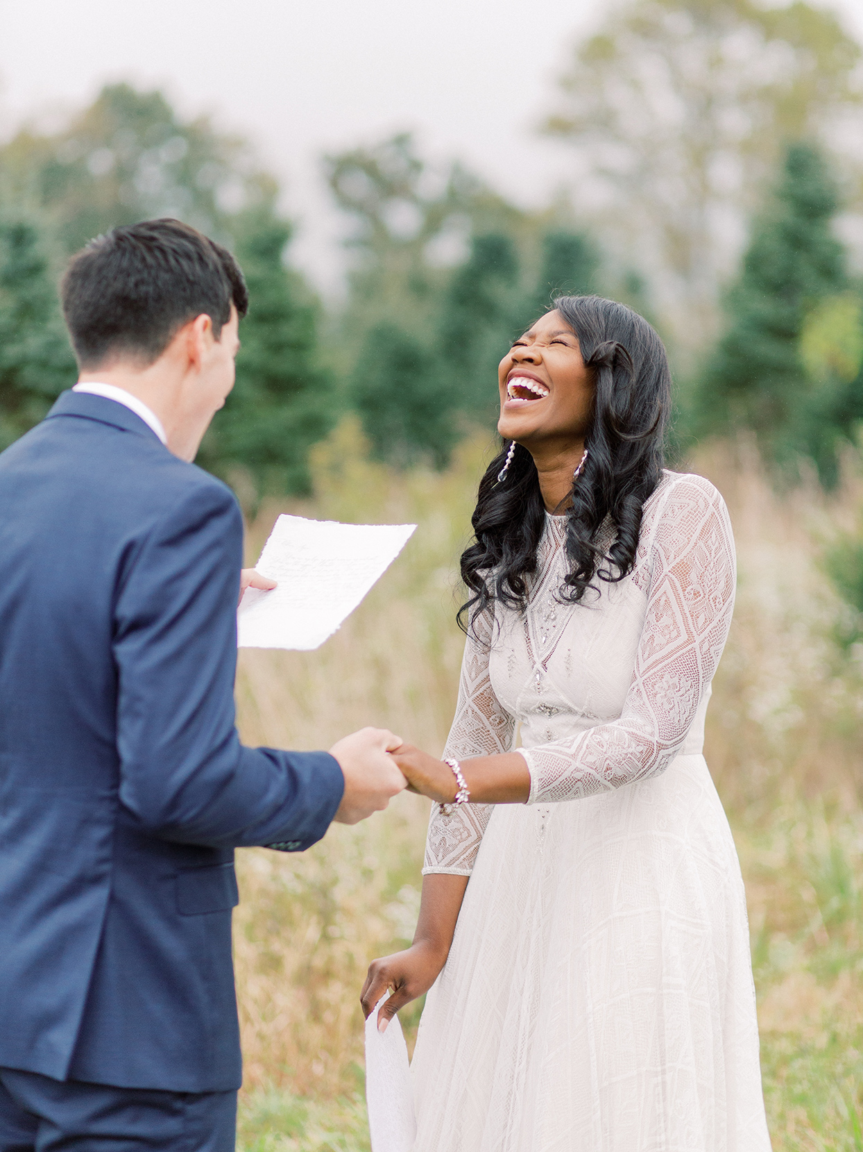 rebecca isaac wedding personal vows bride laughing
