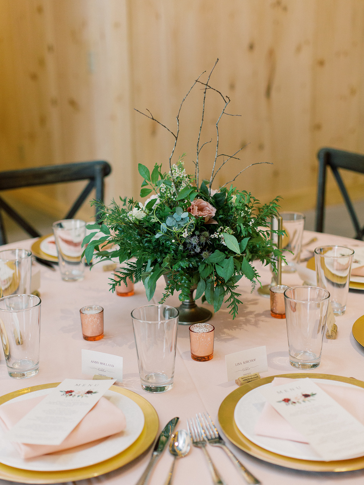 rebecca isaac wedding reception centerpiece floral and greenery