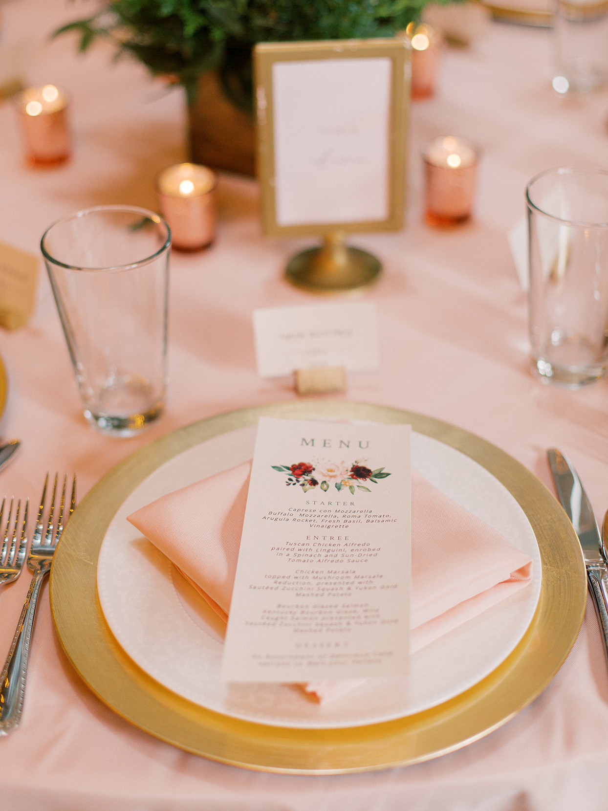 rebecca isaac wedding reception place setting with menu