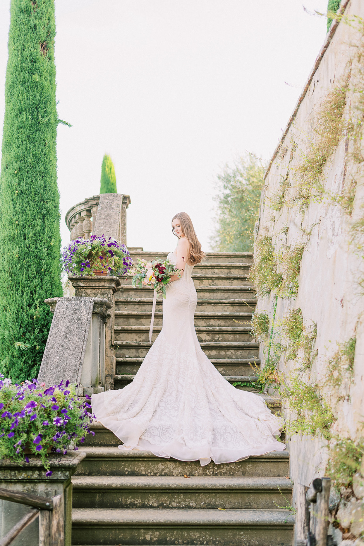 ally brian wedding bride on rustic stairs