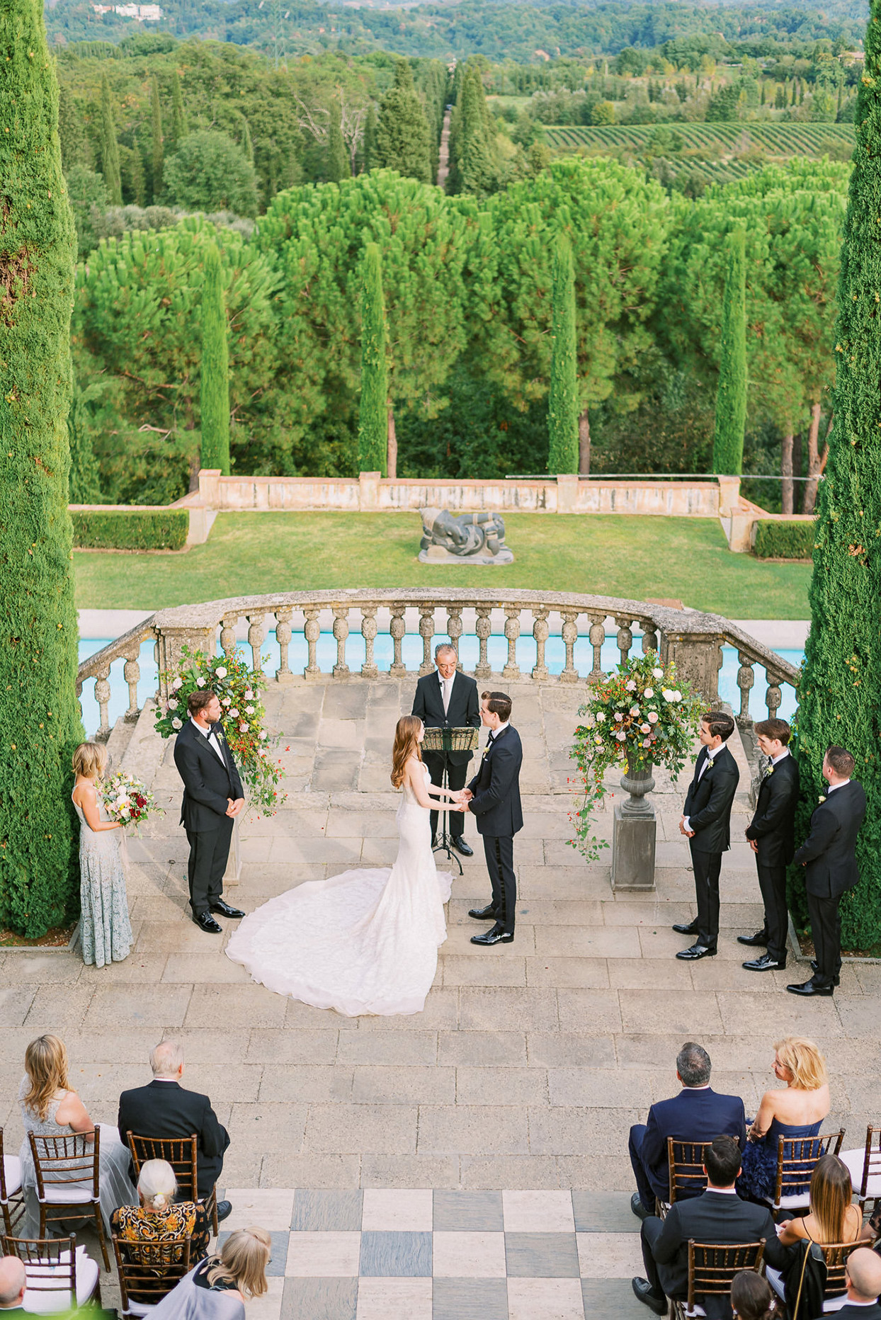ally brian wedding ceremony overhead view