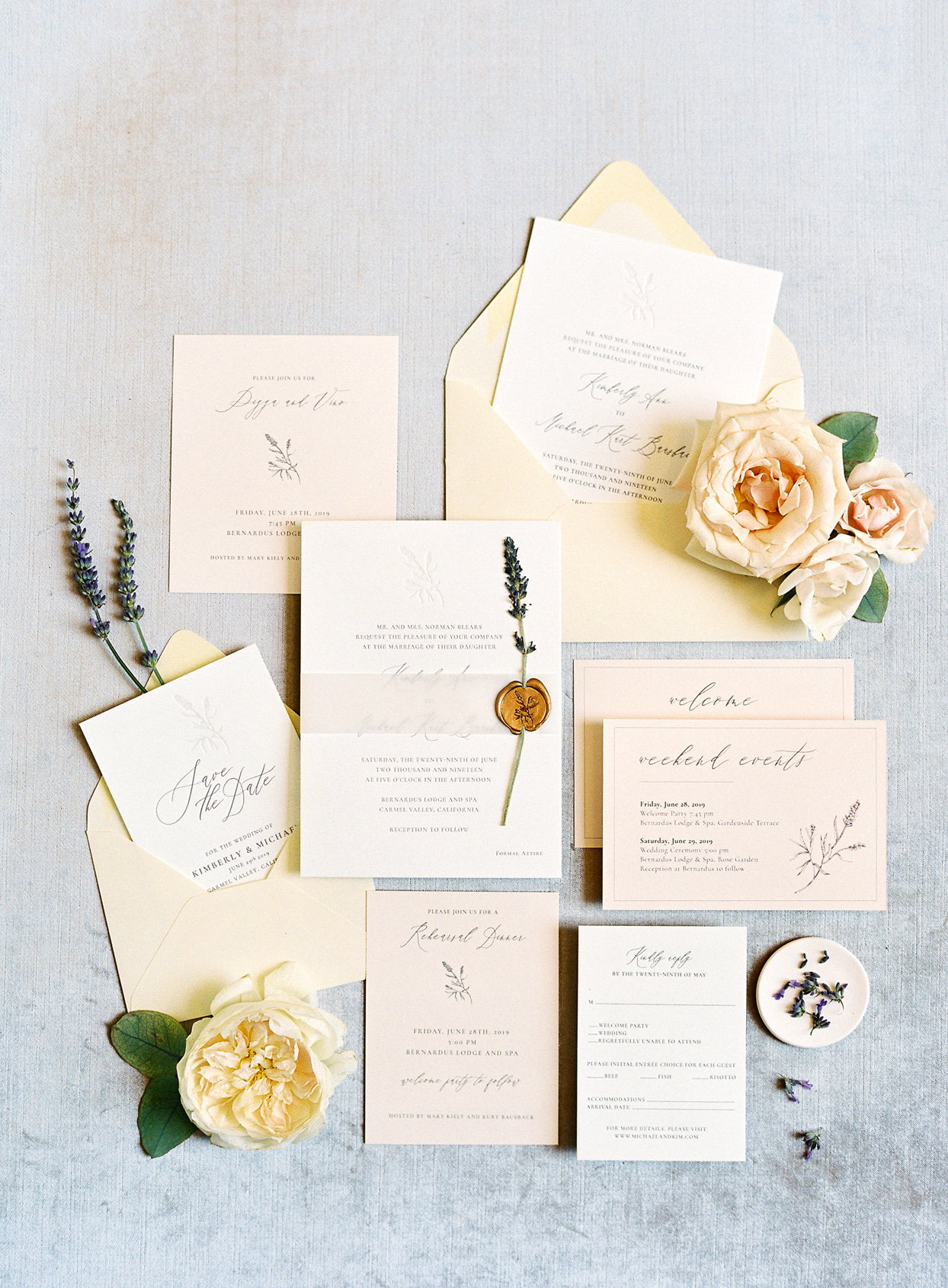 white and cream color themed wedding invitations