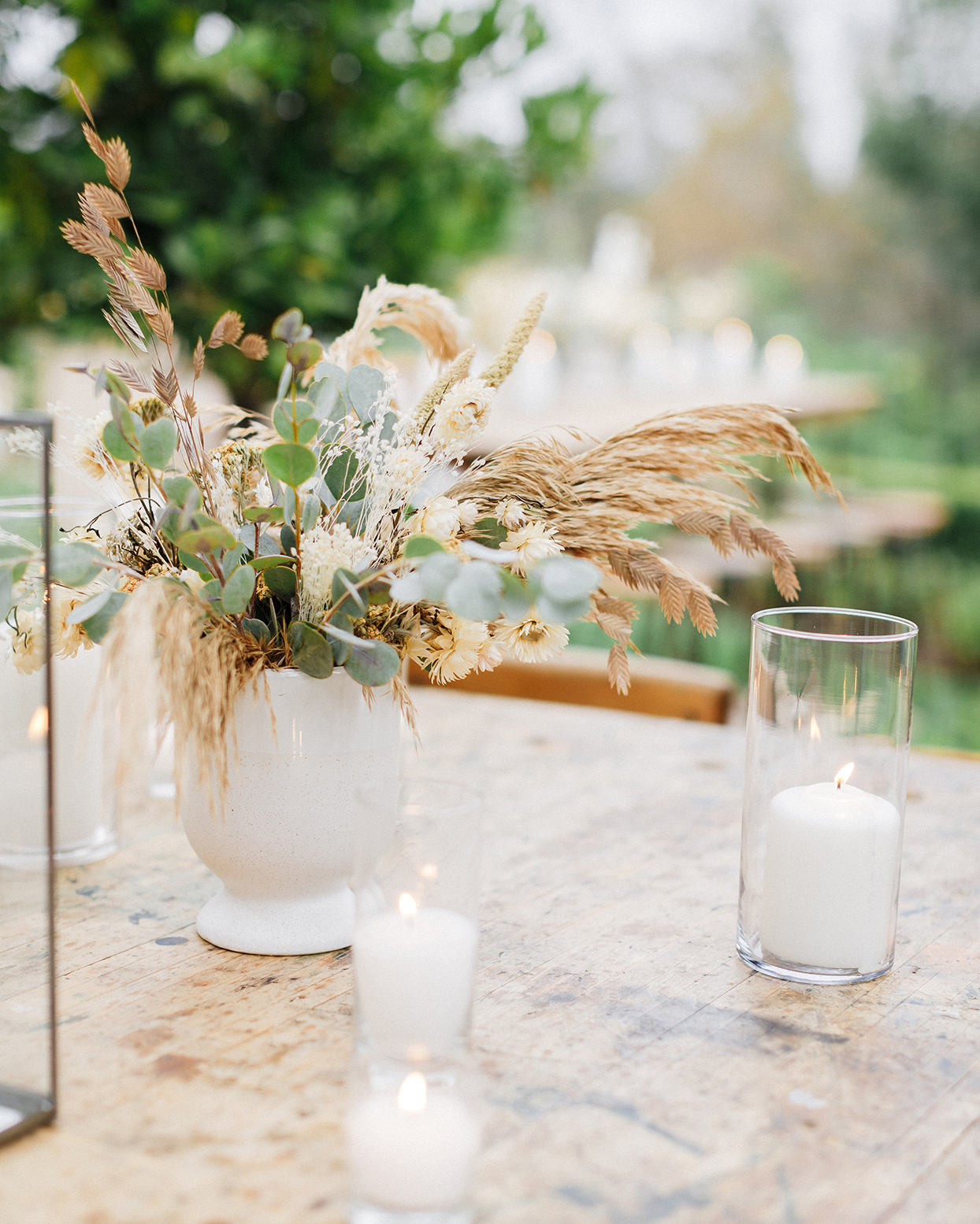sam jack welcome party neutral tones flowers