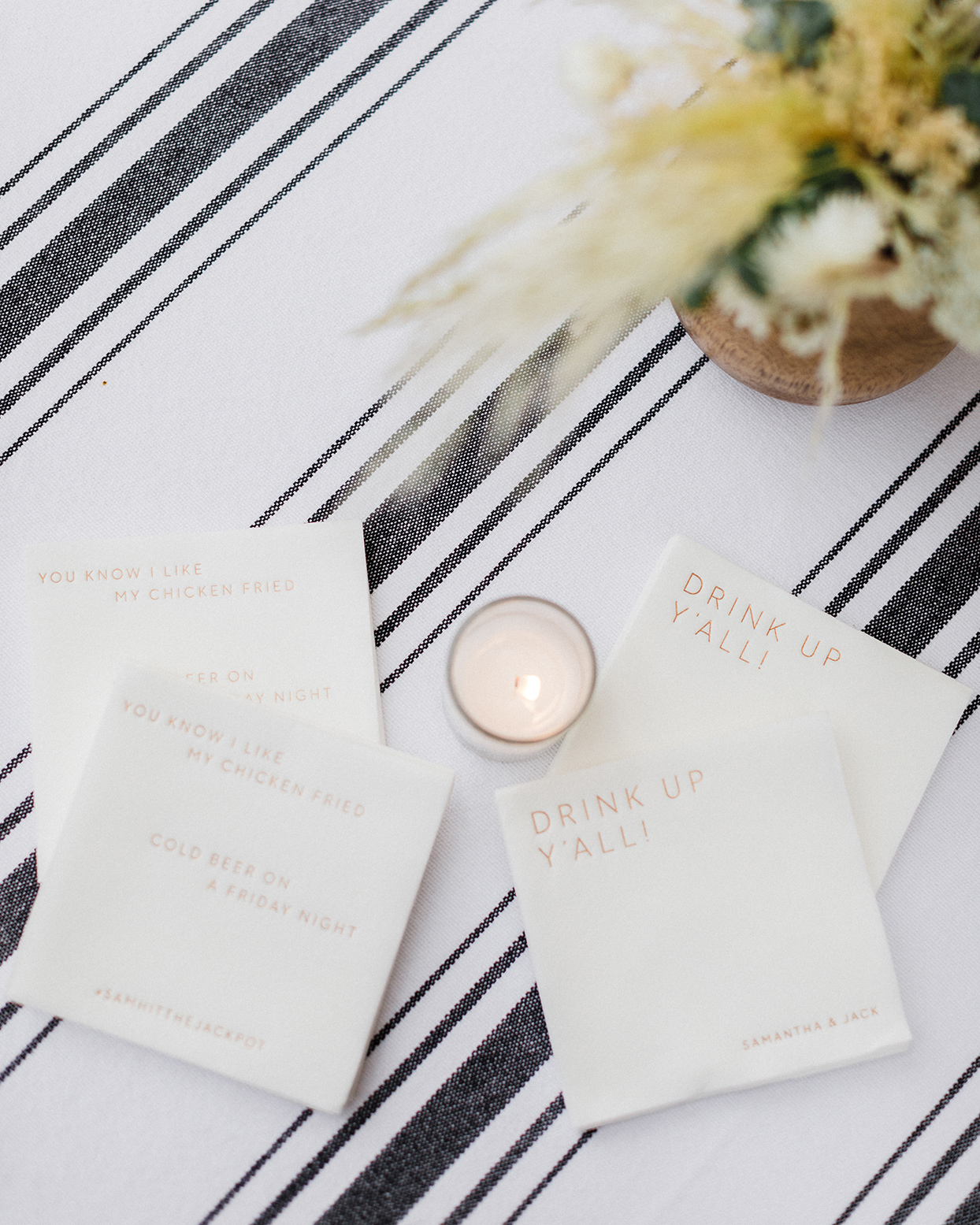 sam jack welcome party customized napkins and candle