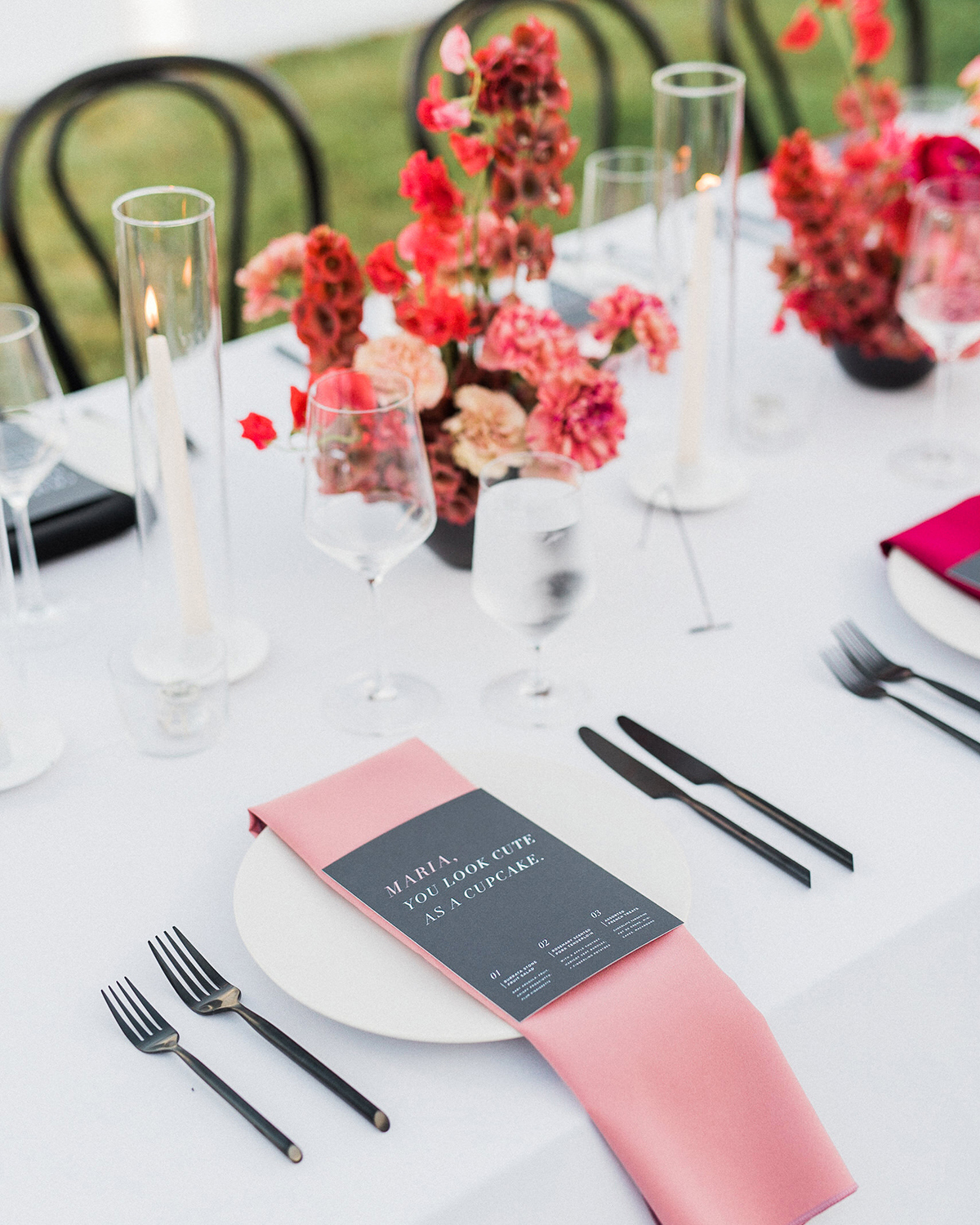 black red and white place setting color theme