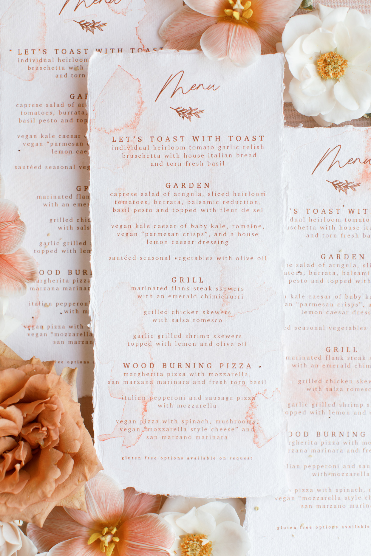 Reception menu made with watercolor on handmade paper