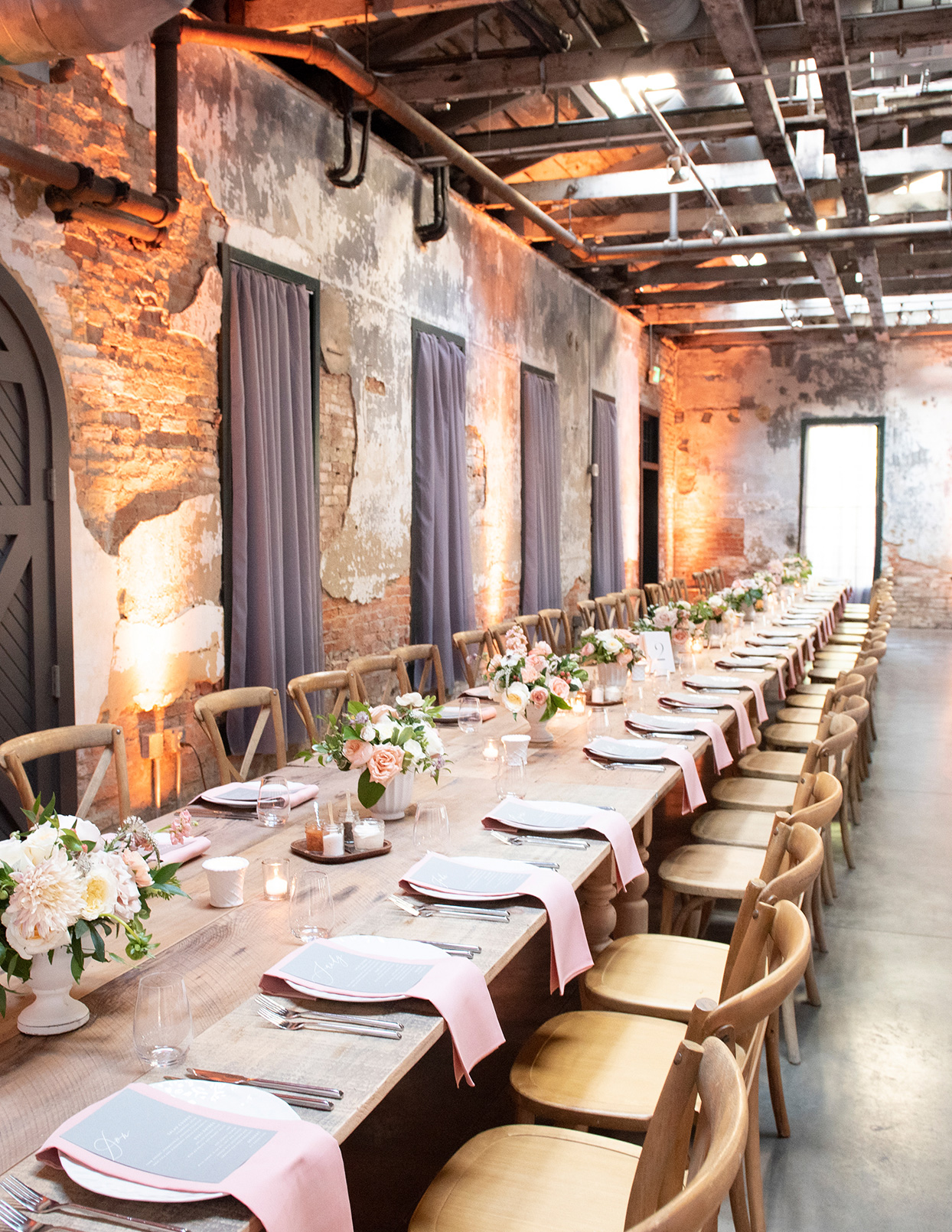 shelby david wedding long wooden table with pink place settings