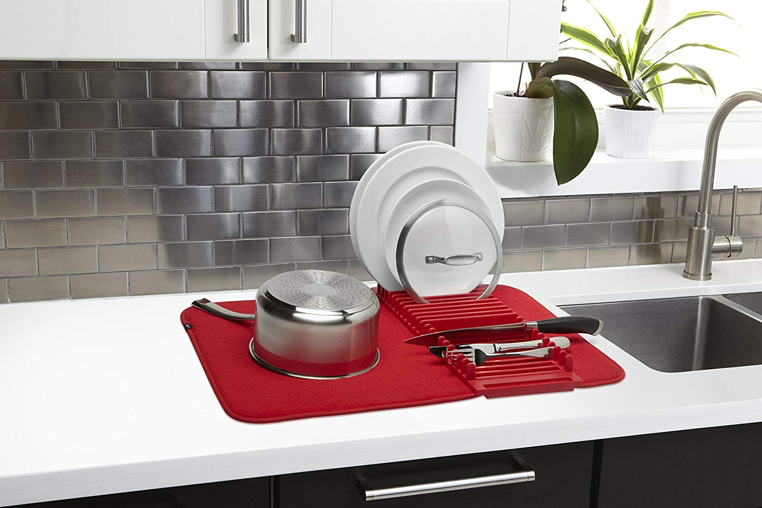 dish mat rack in red