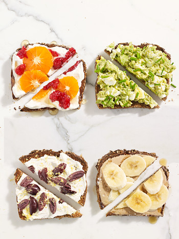 breakfast toast with yogurt and fruit, avocado and egg, tahini and banana, and cream cheese and olives.