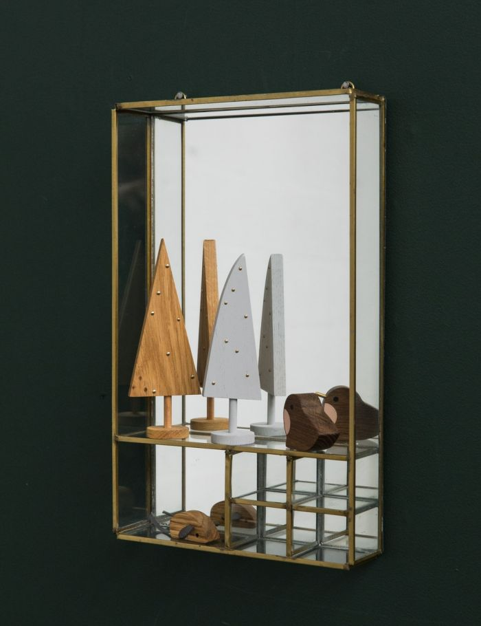 gold mirror with shelves