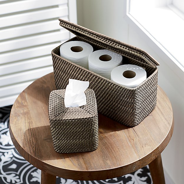 woven bathroom storage box with toilet paper