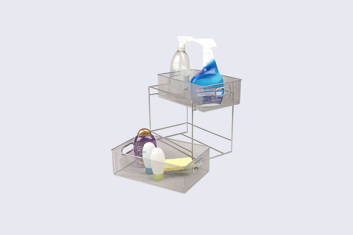 "Mind Reader ""2-Tier Mesh Storage Baskets in Silver"" Shelves"