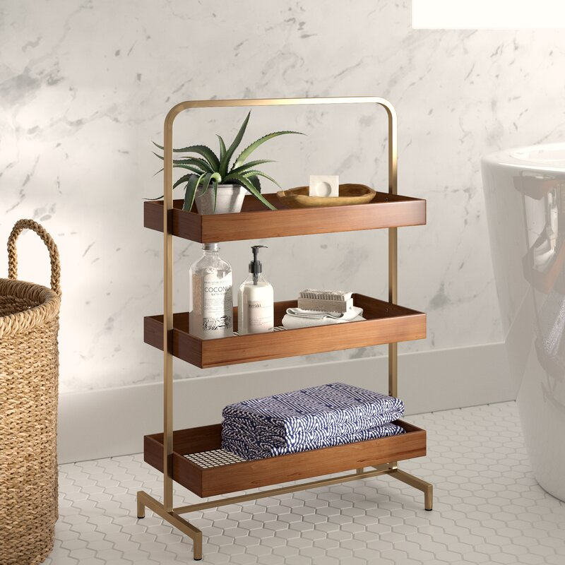 three-tier freestanding wood and gold shelves