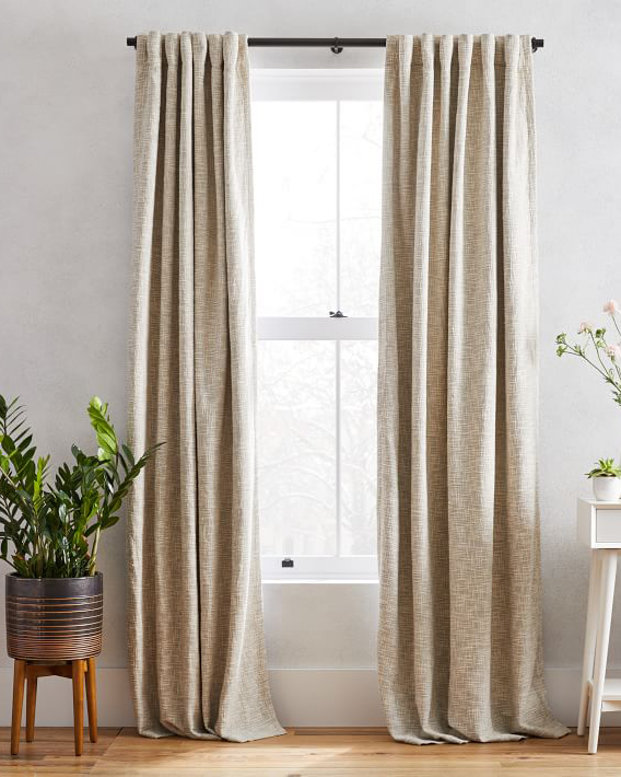 west elm textured weave curtain and blackout pannel