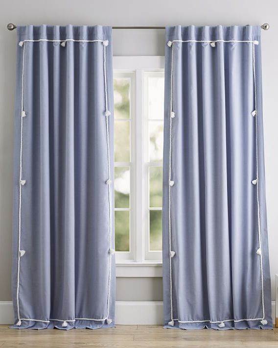 pottery barn solid classic tassel blackout curtain panel