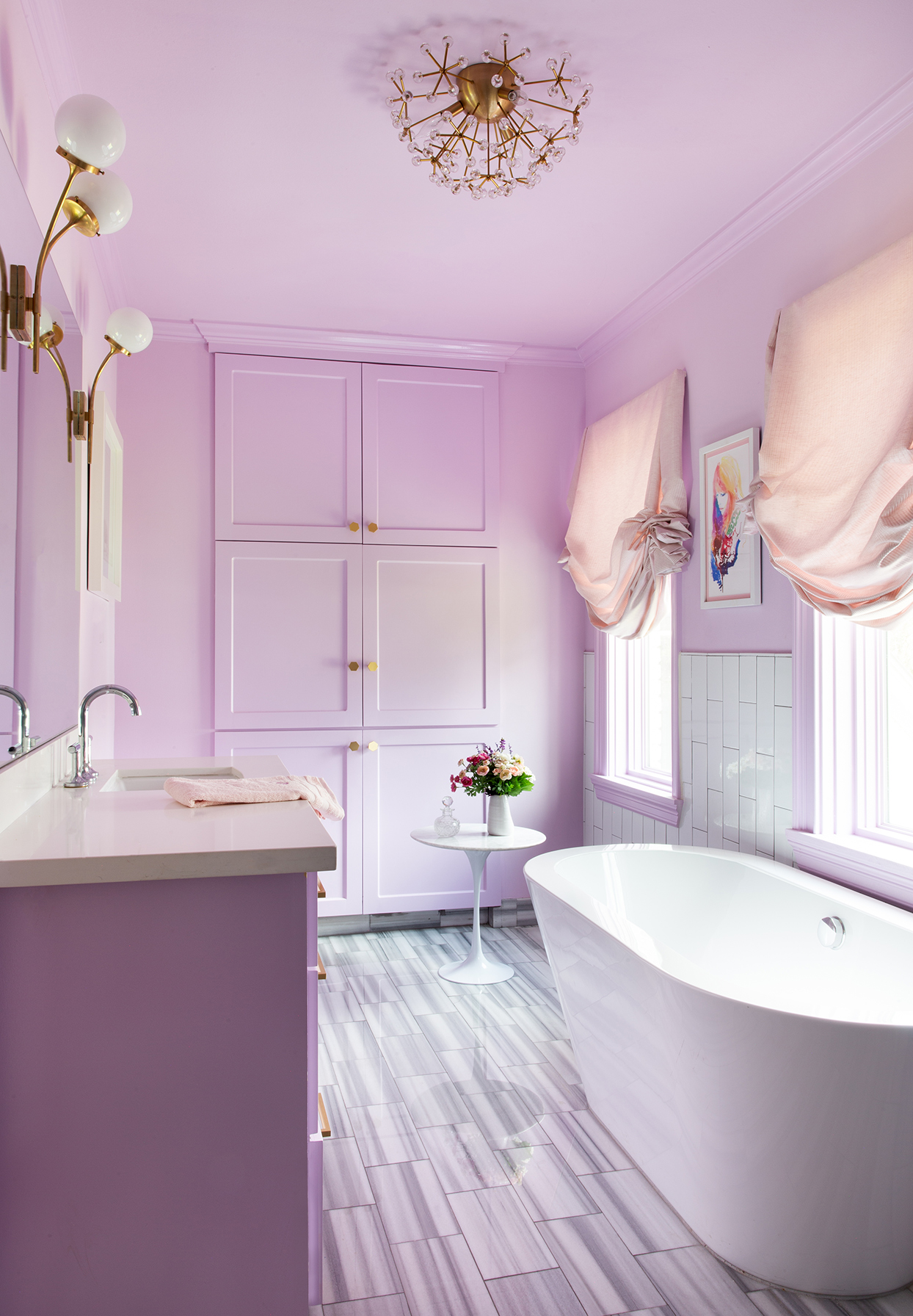 lavender and white bathroom with light pink accents