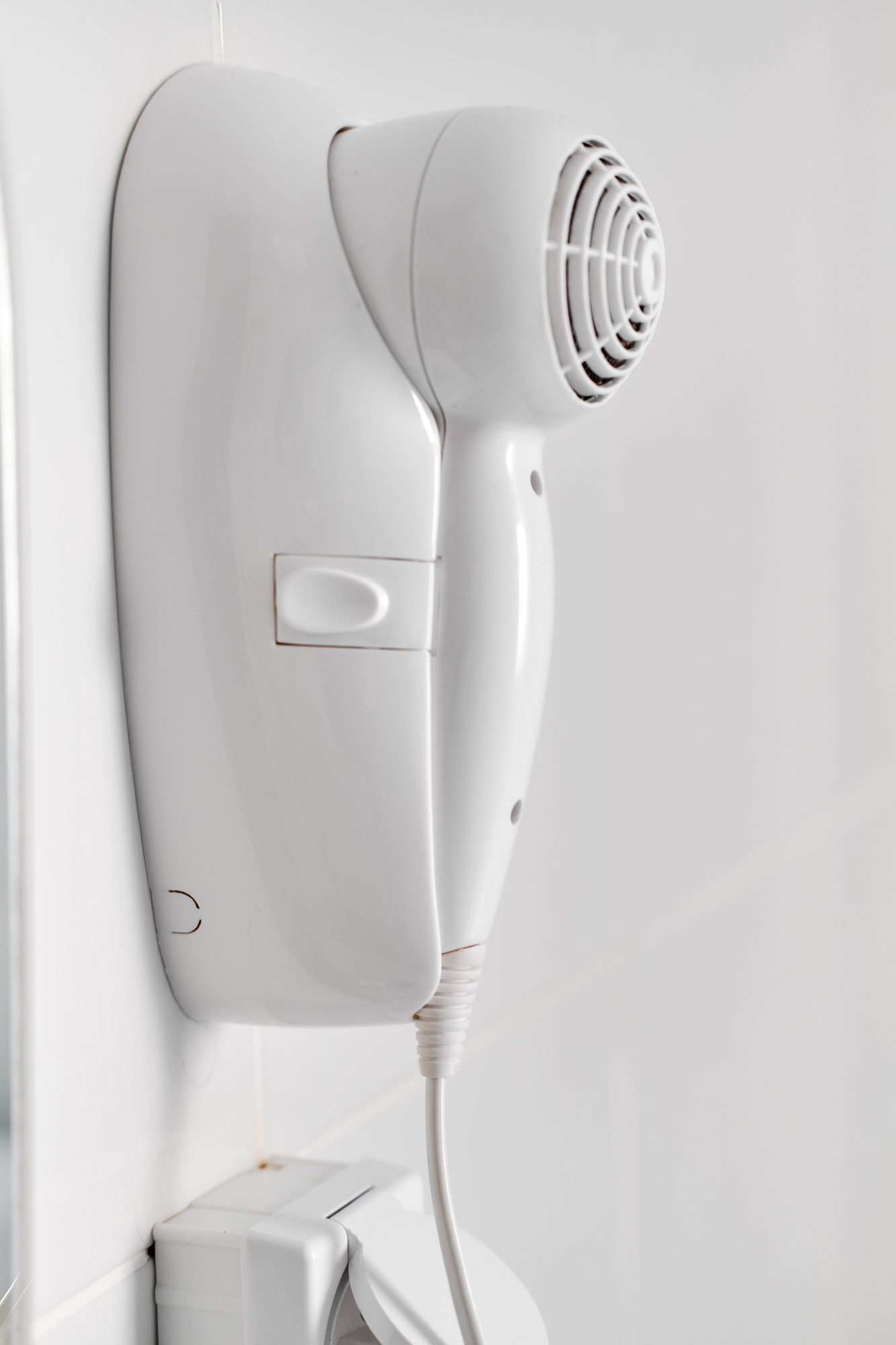 wall mounted white hairdryer