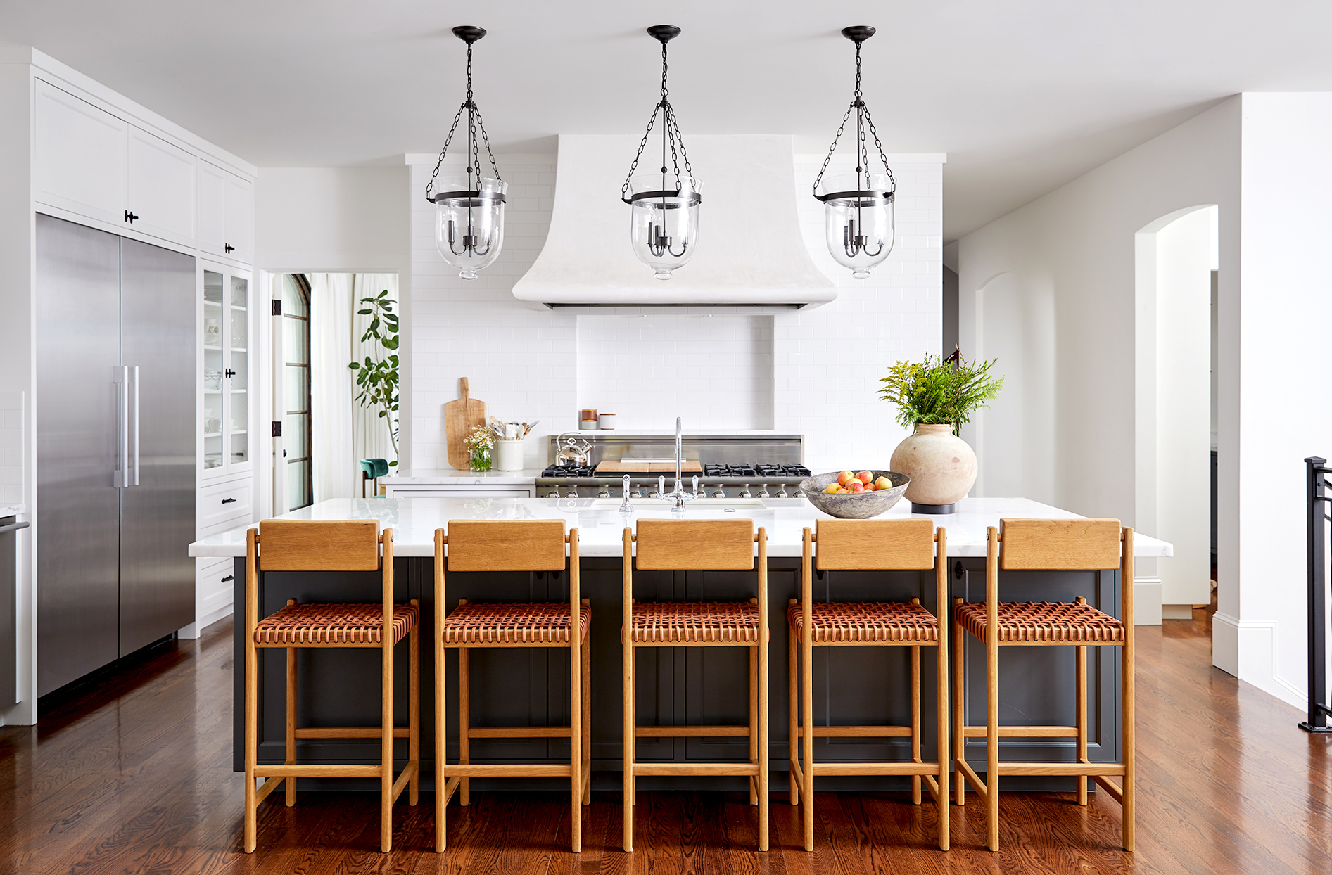 White kitchen with bar seating