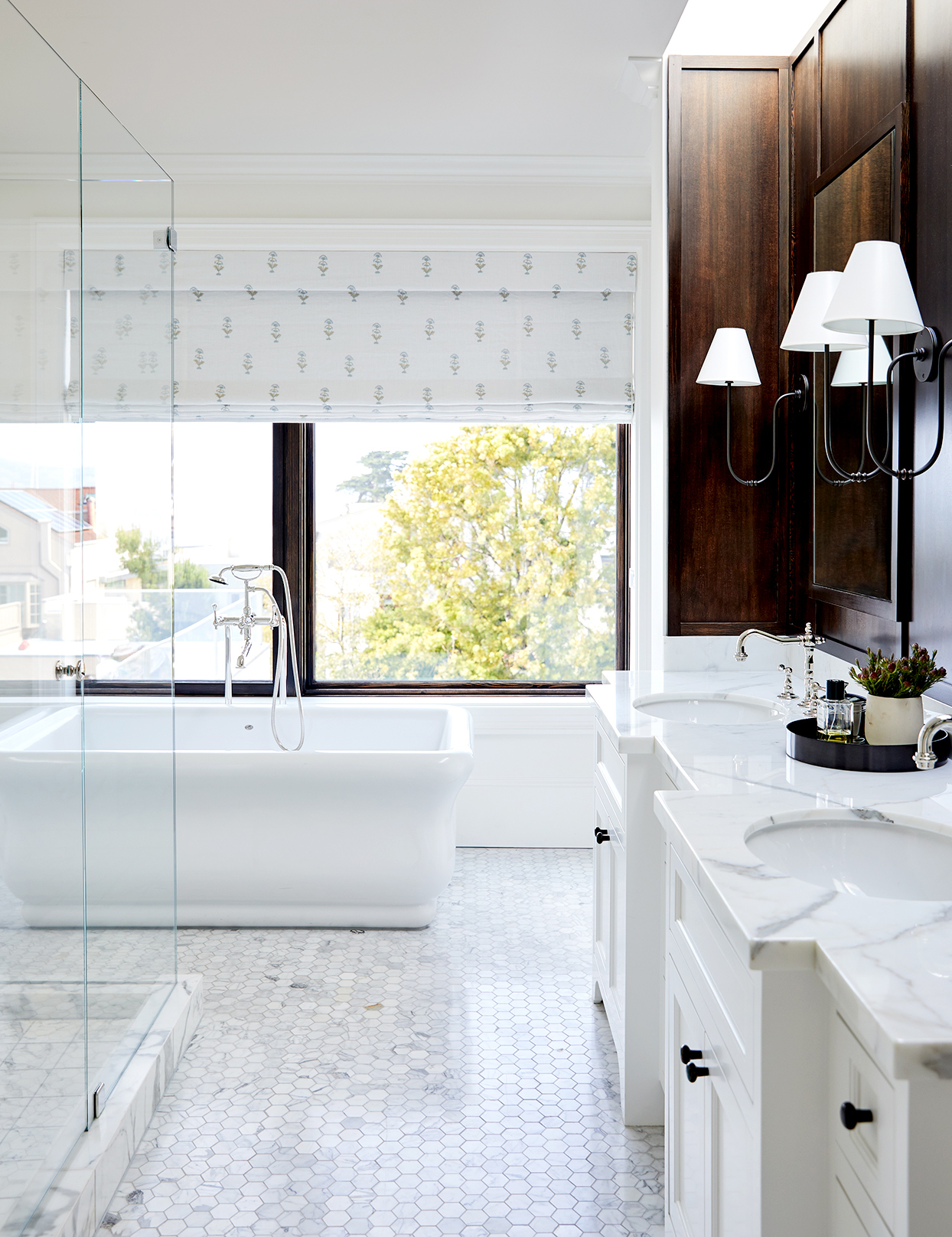 Bathroom with hexagon tile and marble counter