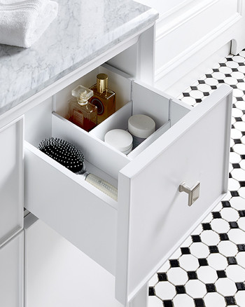 white bathroom vanity drawer organizer