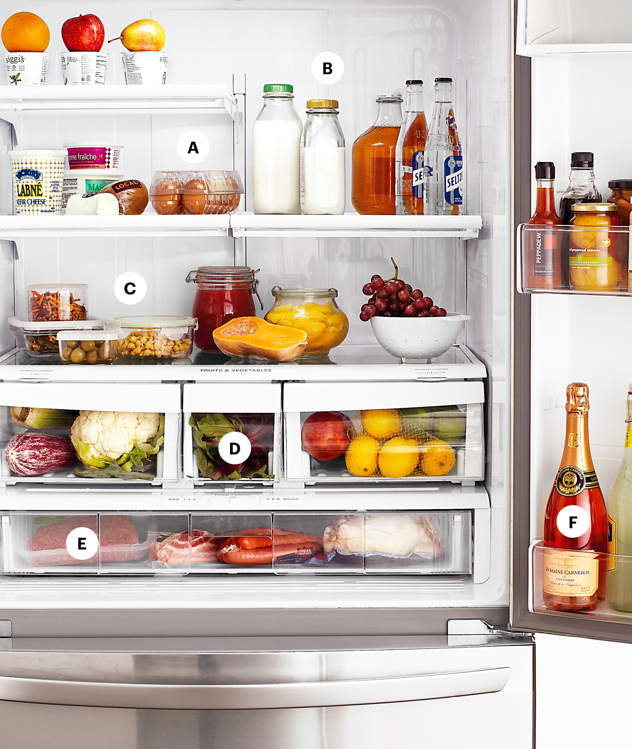 fridge filled with various foods and drinks in an organized manor
