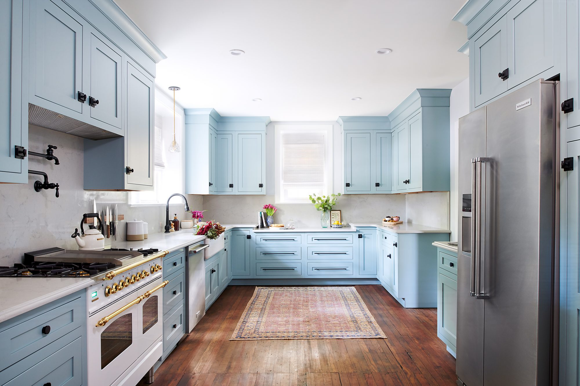 full view of powder blue kitchen