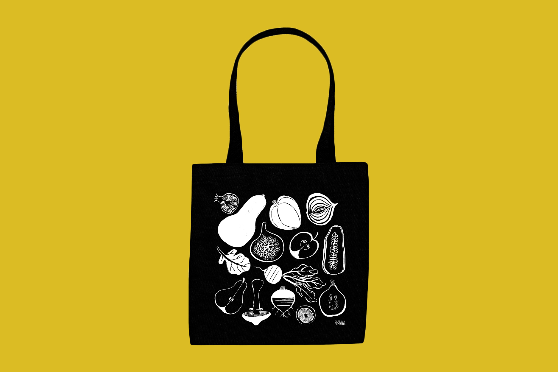 """Claudia Pearson """"Fresh Everyday"""" Black and White Totebag"""