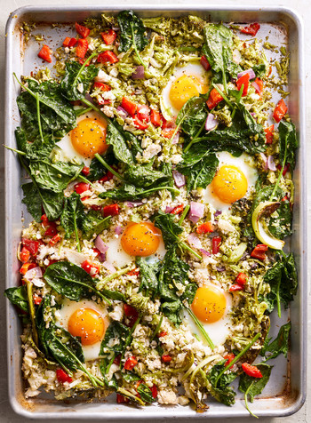 sheet pan vegetable hash with eggs