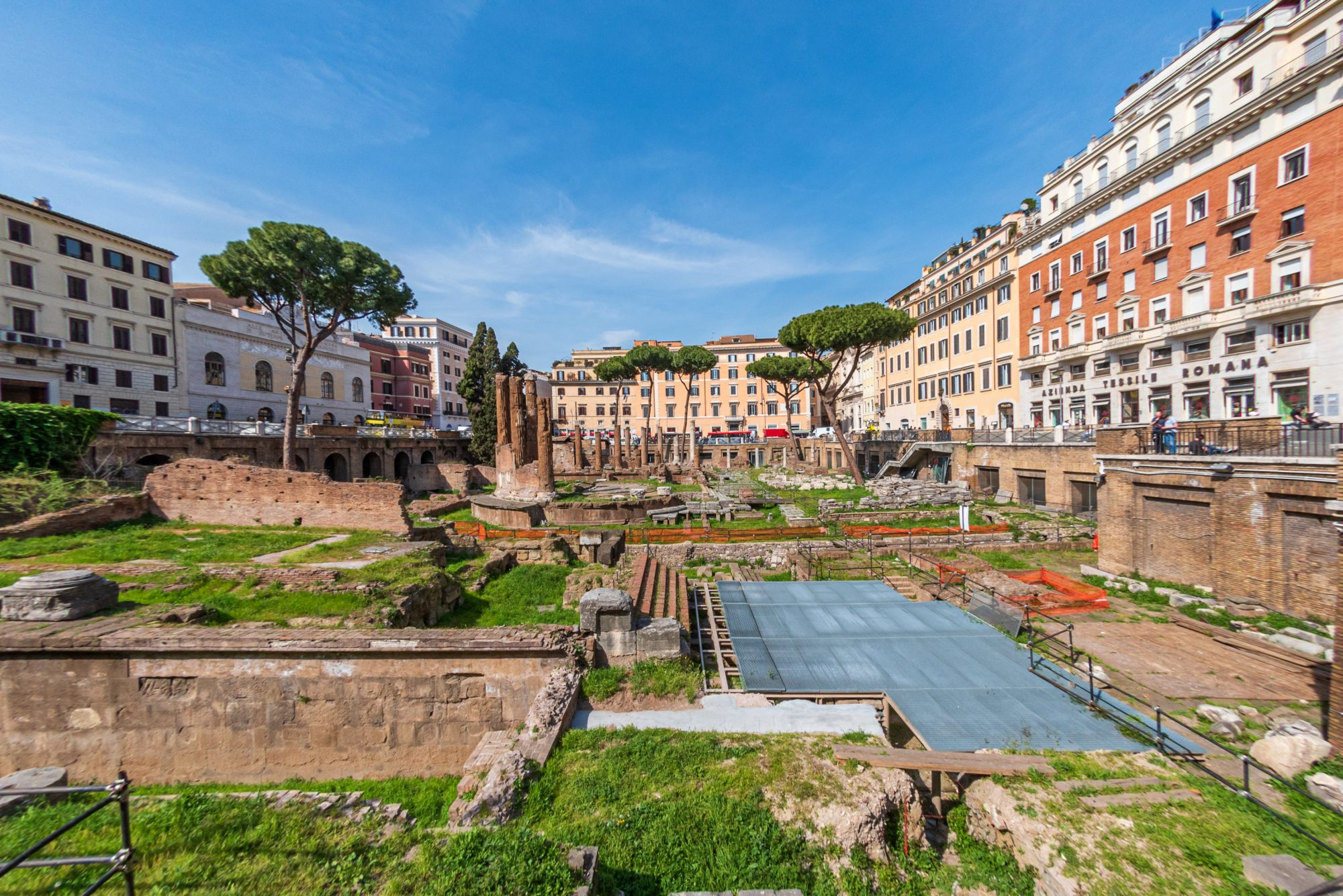 The ruins of Largo di Torre Argentina sacred area containing Roman temples and the remains of Pompey's Theatre, now a cat sanctuary.