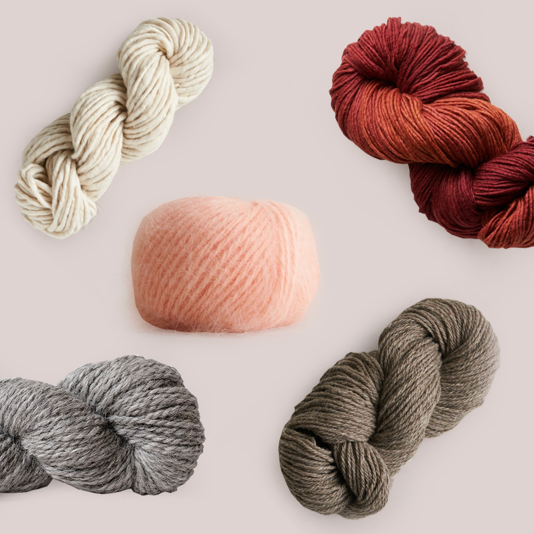 collage of warm yarn for knitting