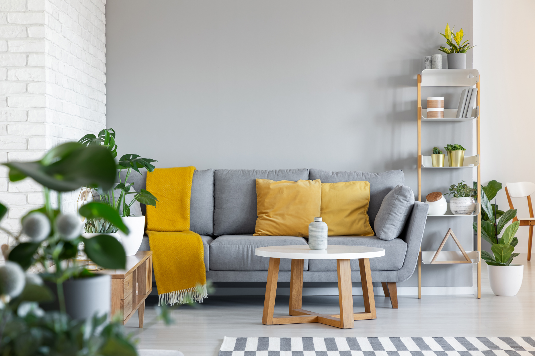 gray and yellow living room decor and furniture