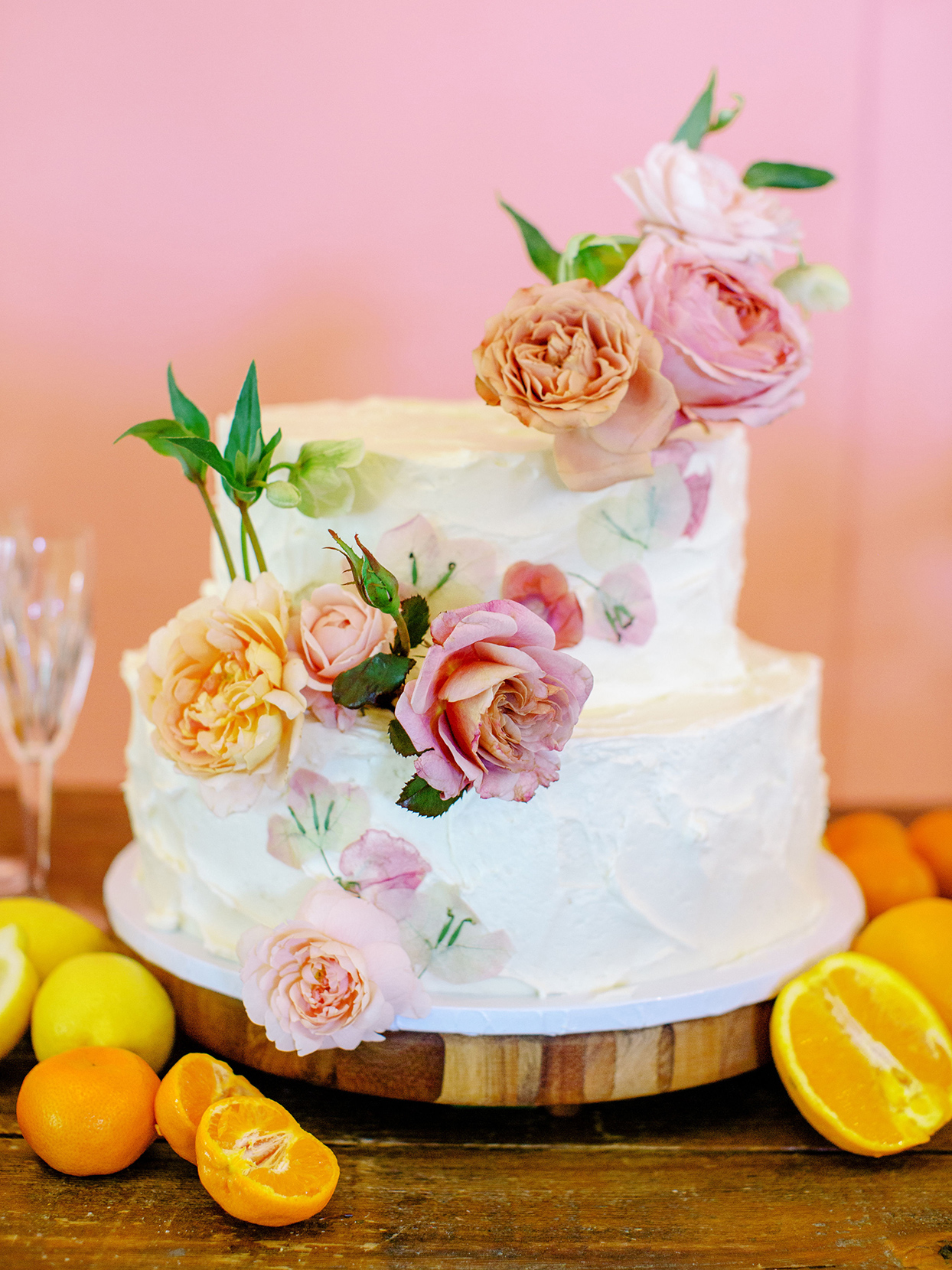 evie joe citrus themed wedding cake