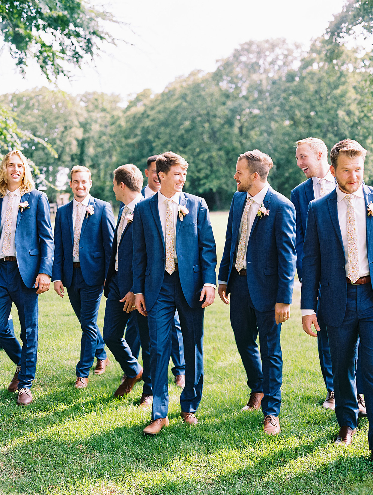 evie joe wedding groomsmen in blue suits