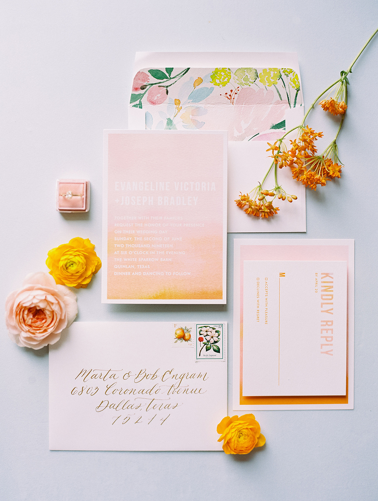evie joe wedding watercolor citrus themed invites