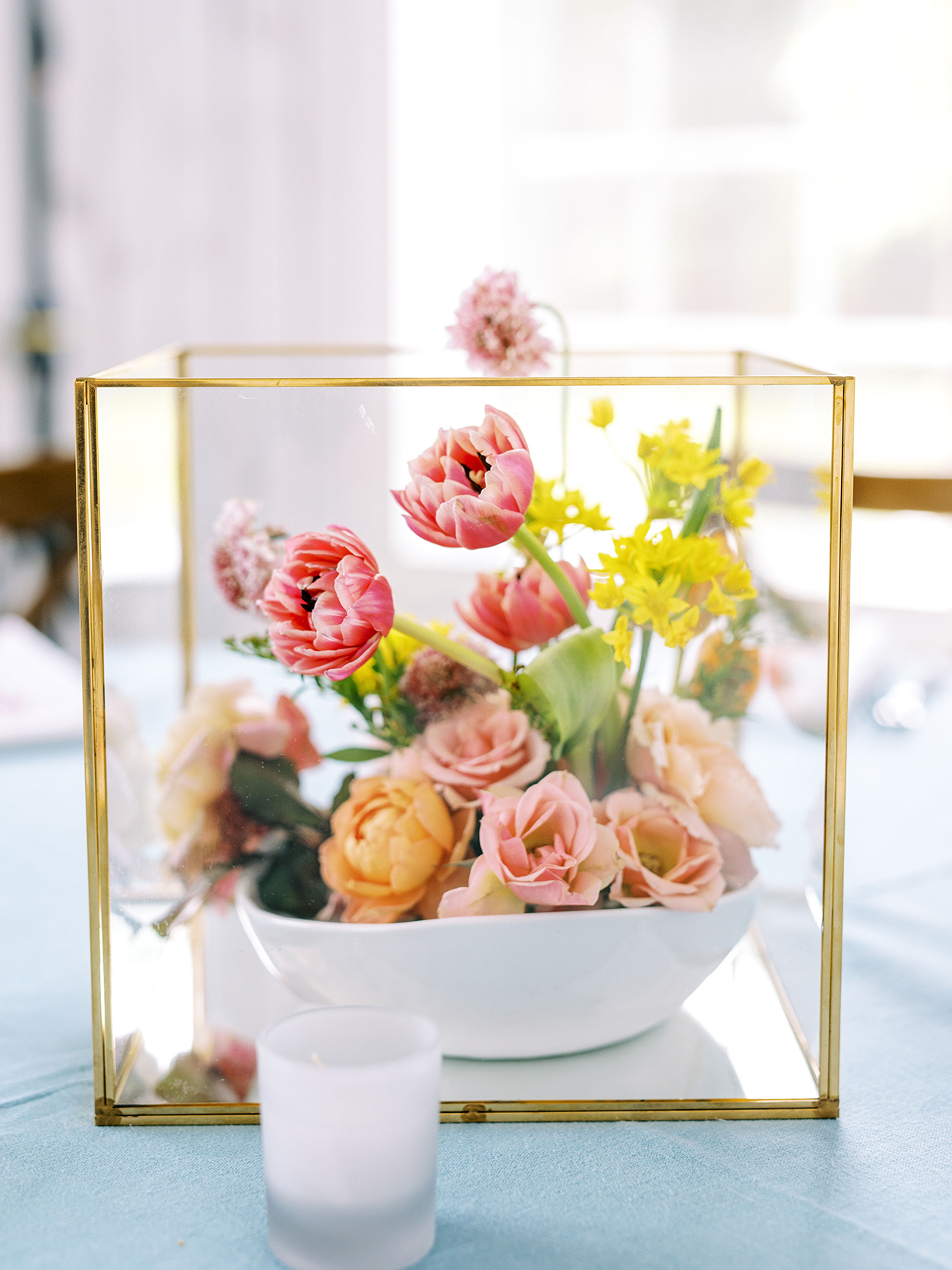 evie joe wedding reception centerpiece bouquet in glass display box