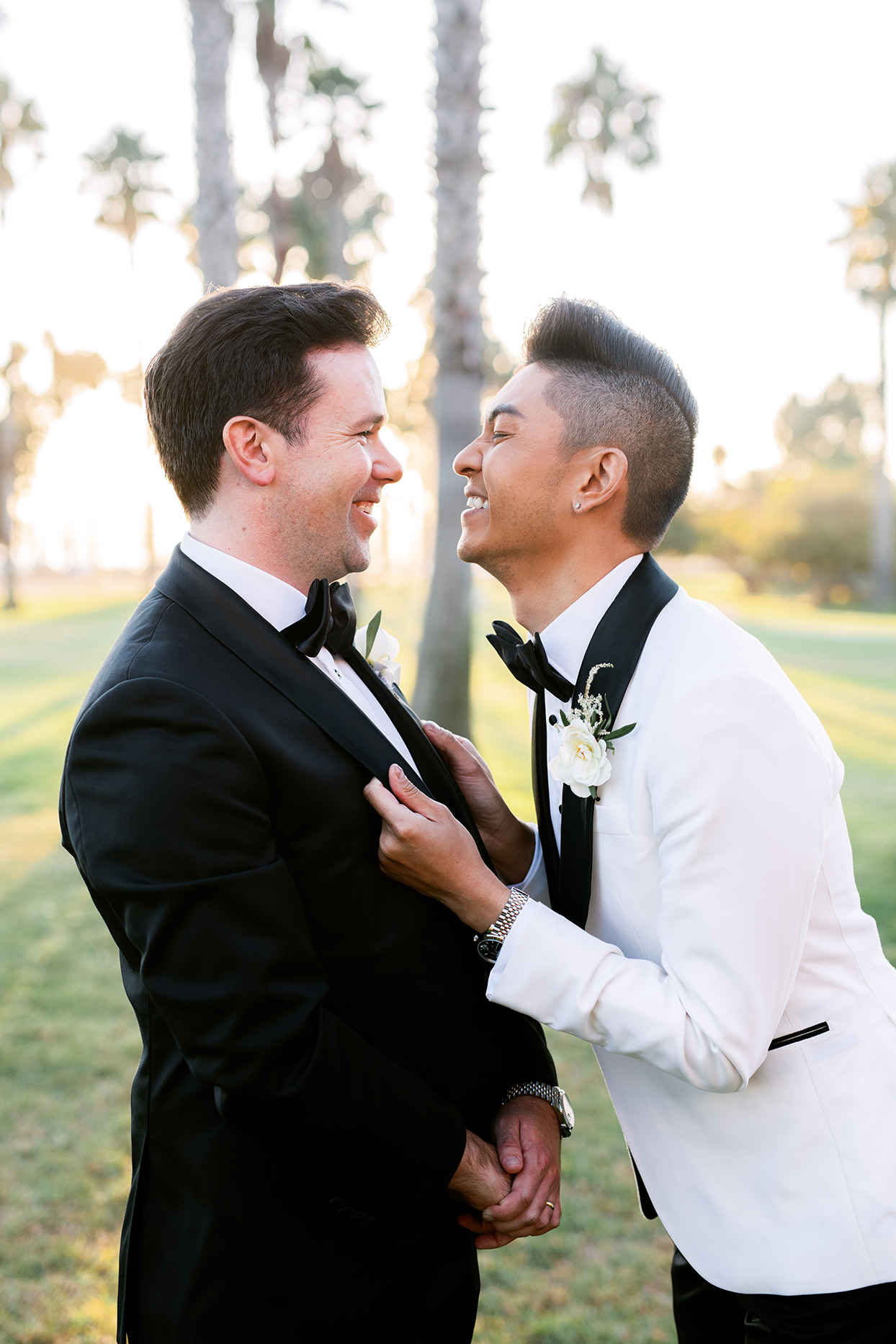 jason justing wedding couple laughing together