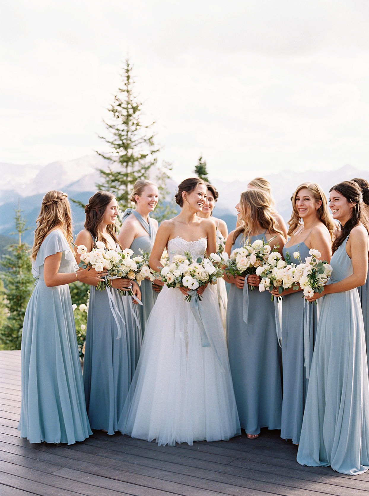 kimmie mike wedding bridesmaids in blue dresses