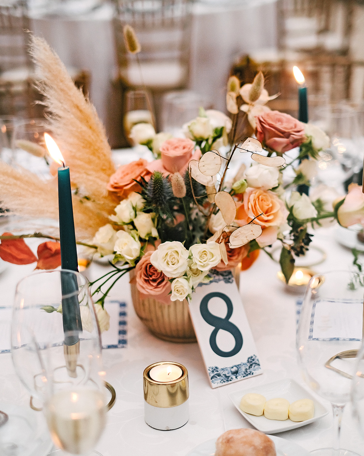 emily scott wedding centerpiece with seating number