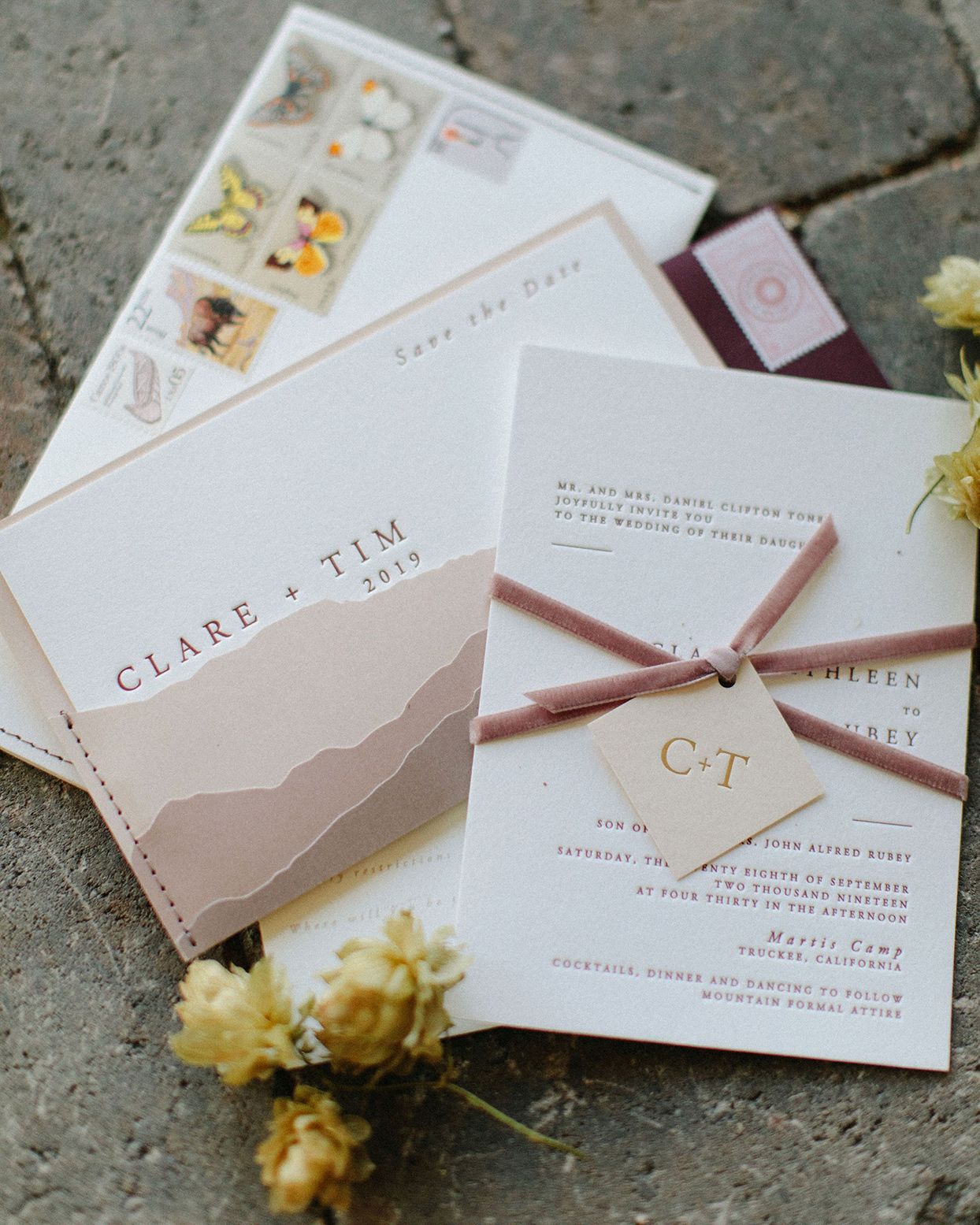 clare tim wedding rustic wedding invites with mountain design