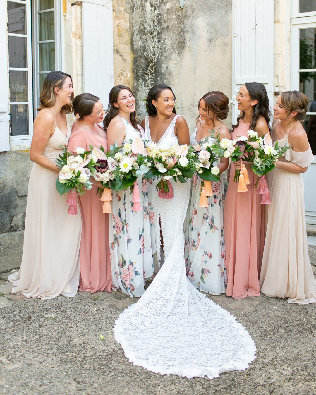 jen tim wedding bridesmaids in pink beige and pastel blue