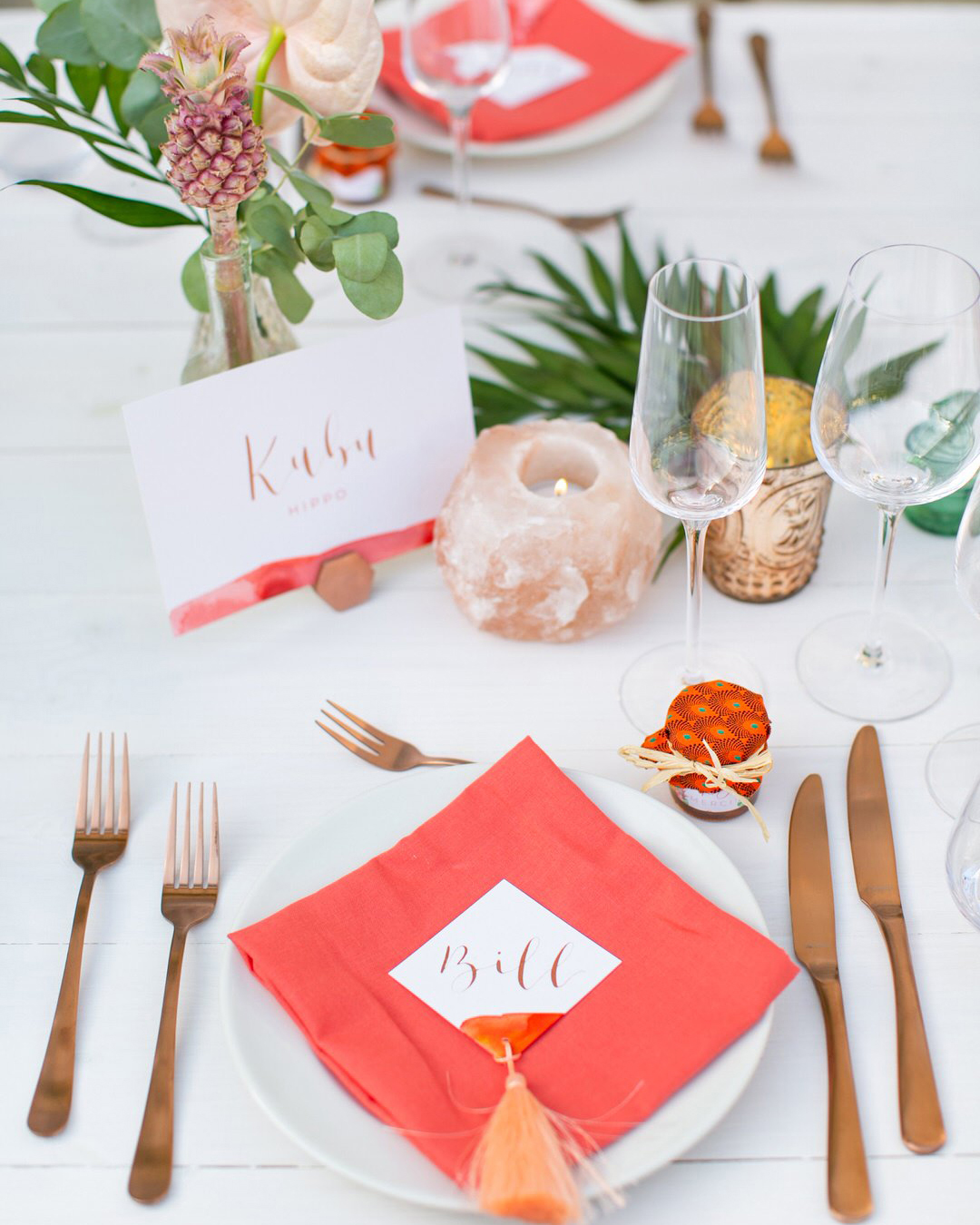 jen tim wedding reception white and coral place setting