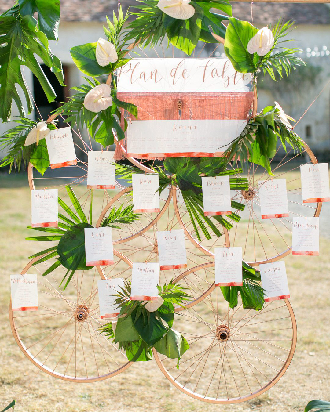 jen tim wedding bicycle wheel seating chart