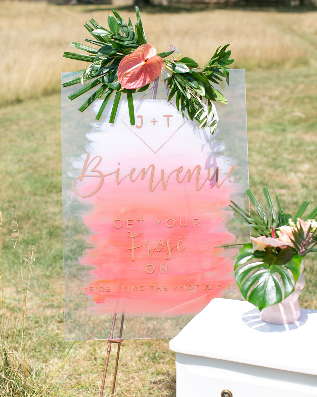 jen tim wedding clear sign with pink paint