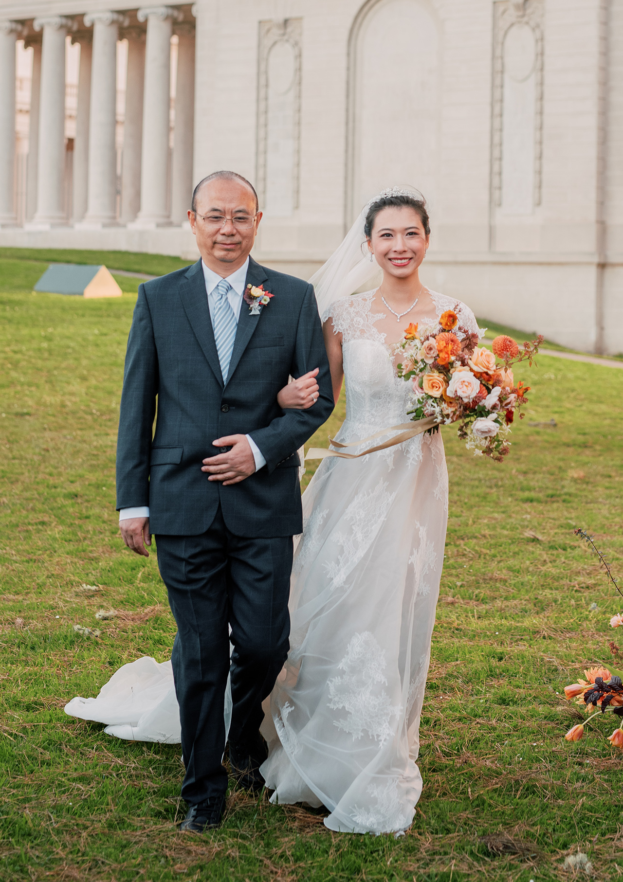 outdoor wedding ceremony processional father walking with bride