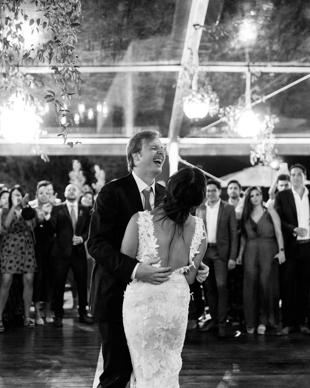 alyssa macia wedding couple laughing during first dance