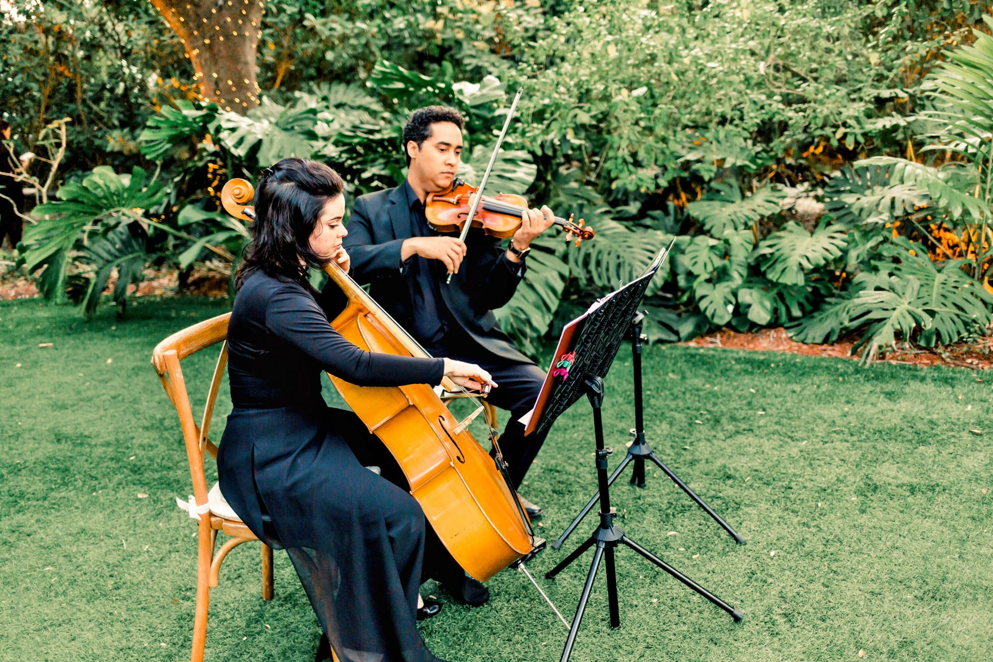 cellist and violinist performing