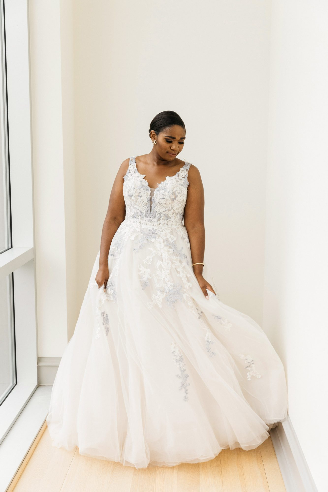 front view bride in gown