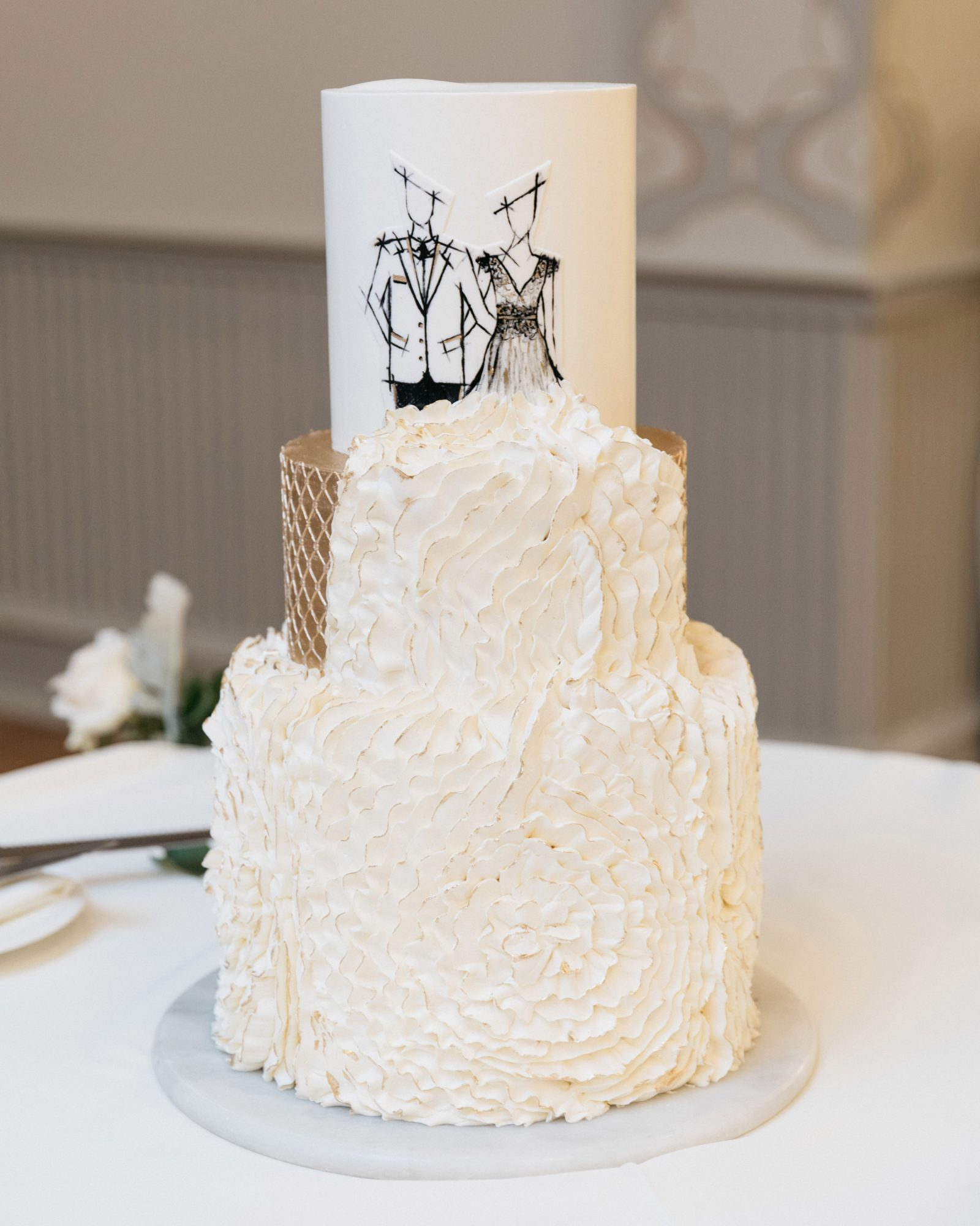 3-tiered wedding cake textured white frosting copper accent illustration top
