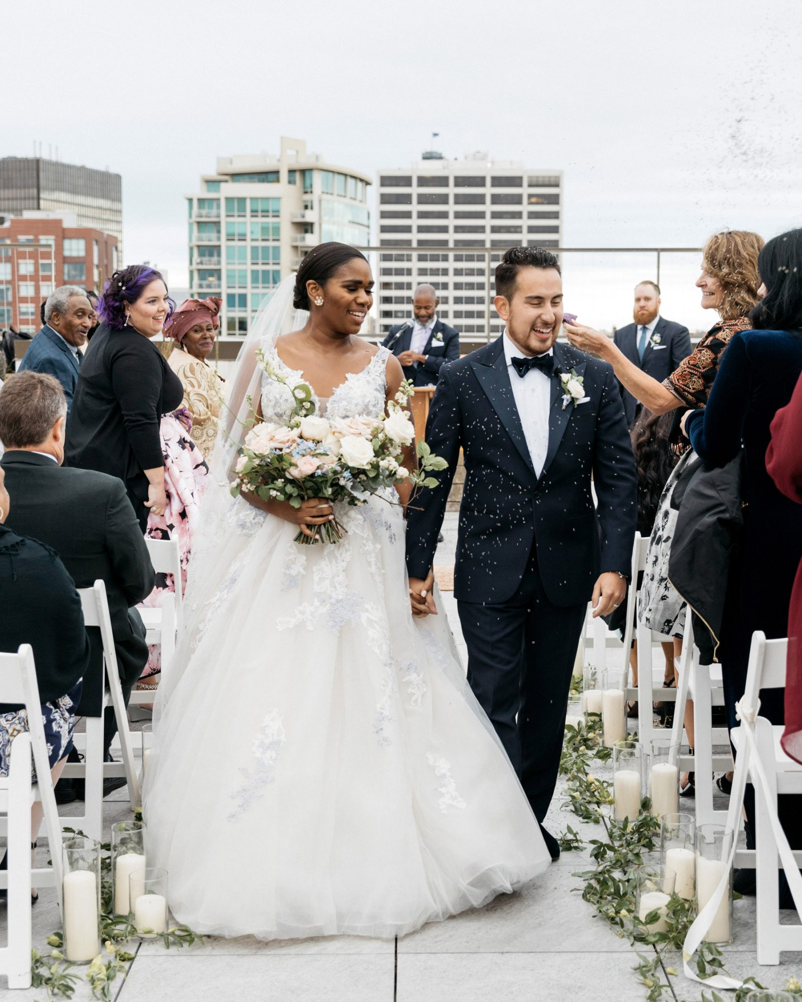 rooftop recessional bride and groom